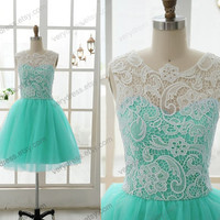 Lace Tulle Bridesmaid Dress Prom Dress Mint Blue Yellow Tulle Dress Knee Short Dress