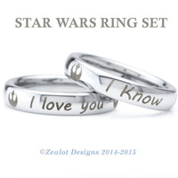 Star Wars Inspired Ring Set Tungsten Wedding Band Ring