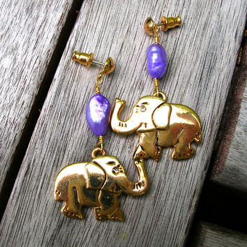 Elephant Earrings - Gold Tone - Lavender Pearl Earrings - Elephant Jewelry