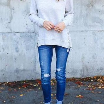 Grey Patchwork Cut Out Lace-up Round Neck Long Sleeve Sweatshirt