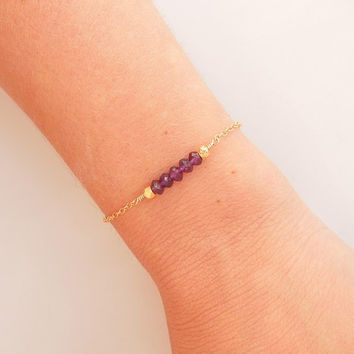 Amethyst Bracelet in Gold - February Birthstone - Birthstone Jewelry