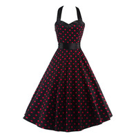 Women Dress Plus Size Summer Clothing 2017 Retro Swing Short Gown robe Pin up Dot Vintage 60s 50s Rockabilly Dresses vestidos