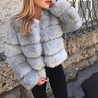 Faux Fur Warm Chinchilla Jacket