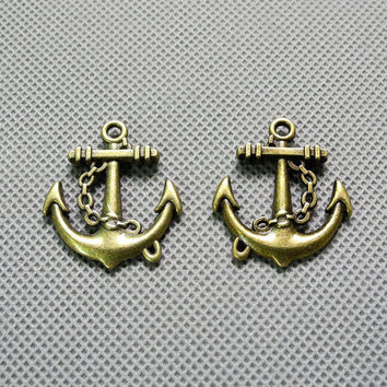 2x Making Jewellery Supply Supplies Retro DIY Jewelry Findings Charms Schmuckteile Charme 4-A1025 Boat Anchor