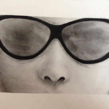 Sunglasses charcoal drawings by VGRInc on Etsy
