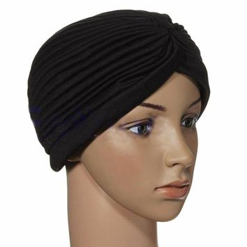 DCCKWQA Indian Cap Pleated Headwrap Turban Stretchy Band Hats for Women Cloche Chemo Hijab Beanies NEW