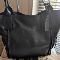 Fossil Emerson Black Pebbled Leather Extra Large Tote Shoulder Bag