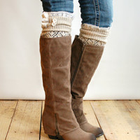 The Lacey Lou Natural Open-work Leg Warmers with ivory knit lace trim & buttons - Legwarmers boot socks (item no. 3-14)