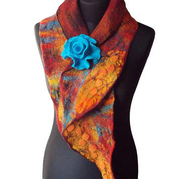 Nuno Felted Collar Multicolor Felt Flower Hand felted Scarf Art to wear Women's Gift Wool collar with Felted Brooch Neck Warmer Shawl OOAK