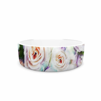 """Dawid Roc """"Bright Rose Floral Abstract"""" Green Floral Pet Bowl"""