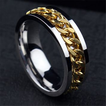 European Simple Titanium Steel 18K Gold Plated  Rings for Men Wedding Finger Ring Fashion Jewelry