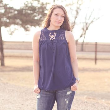 Andree Lace Tank in Navy