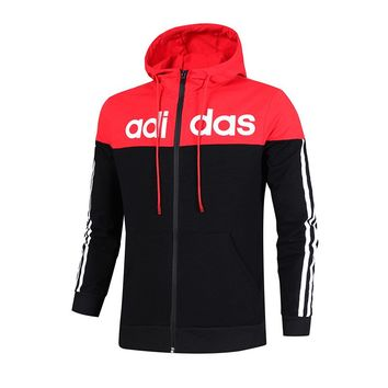 ADIDAS autumn and winter models men and women couples casual jackets running cardigan sportswear black+red