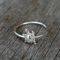 Sterling Silver Tiny Turtle Ring