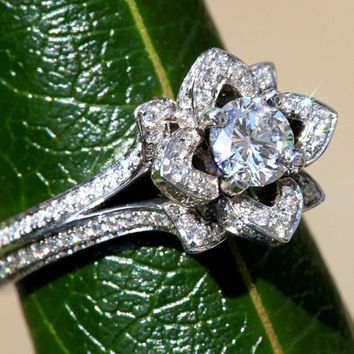 READY to Ship - UNIQUE Flower Rose Diamond Engagement Ring  - 1.75 carat - PLATINUM - Size 6 fL05