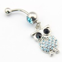 316l Stainless Steel 14g Blue Crystal Retro Owl Dangle Navel Ring Belly Barbell Piercing Kit