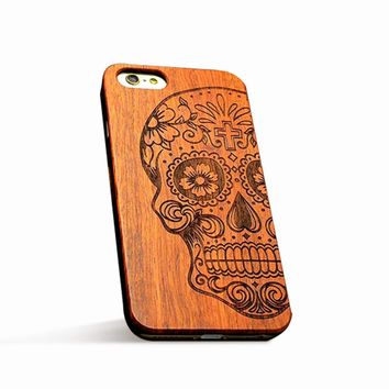 Wooden Skull Retro Natural Wood Case (iPhone 5/ 5s/ 6/ 6s Plus/ 7/ 7Plus)