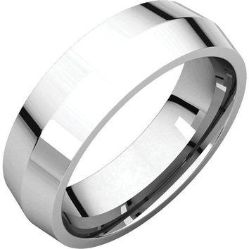 Platinum 8mm Knife Edge Comfort Fit Wedding Band Ring - Bridal Jewelry