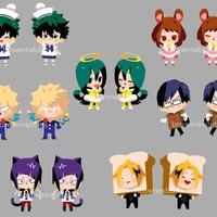 BNHA - Costume Party Keychains Double sided featuring Todoroki, Bakugo and more!