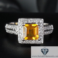 Emerald Cut Citrine Diamond Accented Engagement or Cocktail Ring