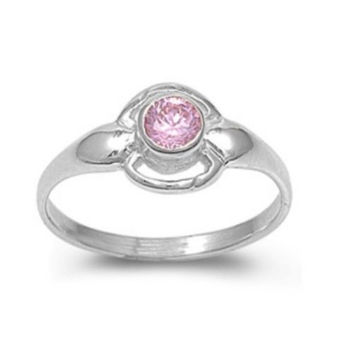 Sterling Silver Pink Topaz CZ Ring Size 1-4