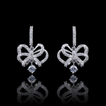 simple bowknot dangler earrings, fashion crystal earring
