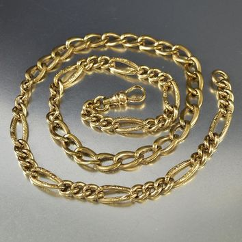 Antique Engraved Gold Filled Watch Chain Necklace