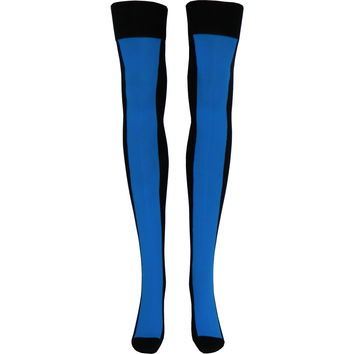 Neon Racer Over The Knee Socks in Blue