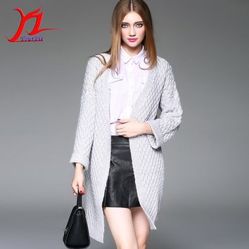 Autumn Winter Women V-Neck Flare Sleeve Loose Cardigan Knitwear Outer Midi Pattern Fashion Solid Color Casual