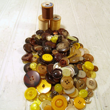 Vintage Variety of Yellow, Browns and Amber Buttons Collection - 175 Buttons for Repurposing Upscaling Upcycling Sewing and Craft Projects