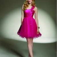 Beautiful Charmeuse Tulle One-Shoulder Flower Party Dress ML9146