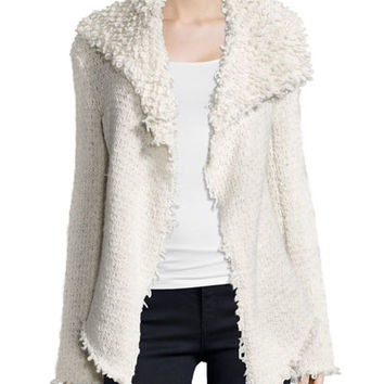 Haute Hippie Loop Knit Drapey Jacket, Swan