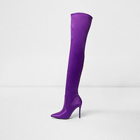 Purple satin over the knee boots - Boots - Shoes & Boots - women