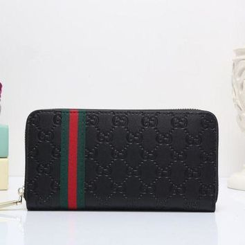 DCCK Gucci' Unisex Clutch Purse Classic Fashion Double G Letter Embossed Long Section Zip Wallet