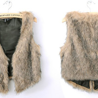 Khaki Faux Fur Vest Coat