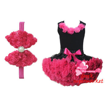 Hot sale Children Hot pink With Black Patchwork Chiffon tutu Dress, Girl's Party dance dress XM-520 - Brides & Bridesmaids - Wedding, Bridal, Prom, Formal Gown