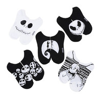 Disney The Nightmare Before Christmas Black & White Boogey Stripes No-Show Socks 5 Pack