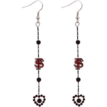 Florida State Seminoles :FSU: Dangle Heart Logo Earrings - http://www.shareasale.com/m-pr.cfm?merchantID=7124&userID=1042934&productID=527668428 / Florida State Seminoles
