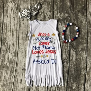 baby girls kids 4th July summer fringe tassels outfits dress she is good girl arrow love Jesus America matching accessories set