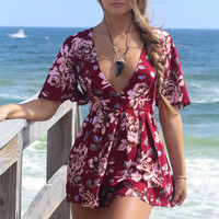 Cayman Island Red Floral Romper