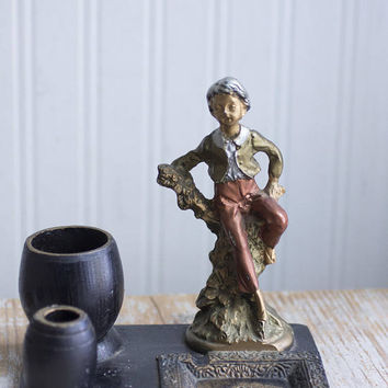 Antique Smoke Set, Cigarette Matches Ashtray  Holder, Art Nouveau Desk Set, Male Boy Figurine, Vintage Man Office, Elegant Table Top