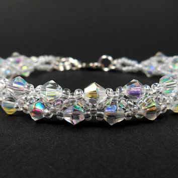Bridal Bracelet Clear Crystal Cuff Bracelet Glass Crystal Jewelry Wedding Jewelry Bridesmaid Bracelet