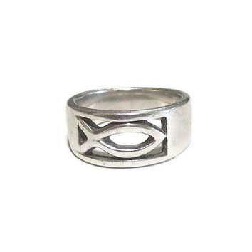Sterling Silver Christian Jesus Fish Band Ring Vintage Peter Stone Signed PSCL Size 4