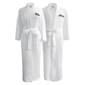 Lakeview Signature Egyptian Cotton Resort Waffle Spa Robe - Gift Shop Wedding/ Anniversary