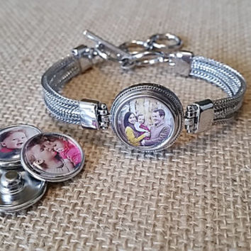 Personalized Photo Bracelet Interchangeable Snap Jewelry Adjule Charm