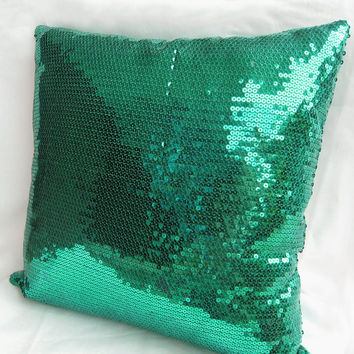 Luxury Glamour. Peacock Green Sequins Embellished Pillow Cover. Bling Decorative Cushion Cover. Party Decor
