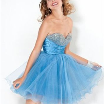Short A-line Strapless Beaded Sweetheart Zipper Back Tulle Prom Dress PD1978