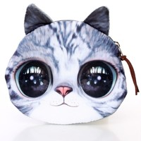 Grey Cat Face Cute Coin Purse