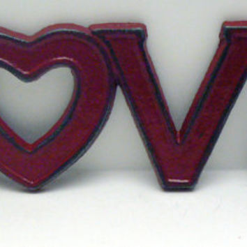 Love Cast Iron Sign Colonial Heritage Red Wall Decor Plaque, Shabby Chic Distressed Love Heart for O 4 Letter Word Retro Wall Art