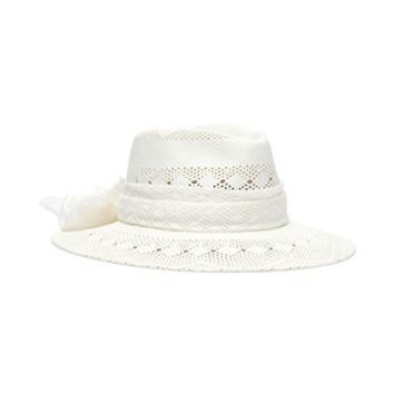 Maison Michel | 'Henrietta' perforated jacquard ribbon straw fedora hat | Women | Lane Crawford - Shop Designer Brands Online